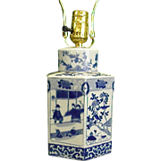 Asian Lamp Made from Blue and White Ginger Jar