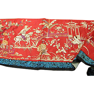 Beautiful Old Asian Silk Embroidery Wall Hanging