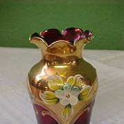 Beautiful Ruby, Gilded, and Enameled Vase