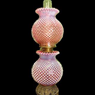 Vintage Customized Cranberry Hobnail GWTW Lamp