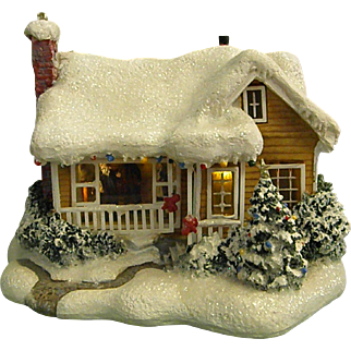 Thomas Kinkade 2008 Christmas Scene Childhood Home