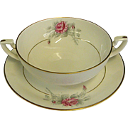 Worcester Rose Cream Soups and Underplates by Royal Worcester