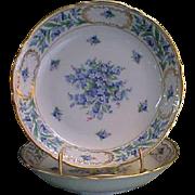 "Schumann Bavaria Porcelain China Forget Me Not 8"" Round Bowl"