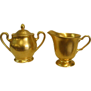Elegant Pickard Gold Encrusted Rose and Daisy Creamer and Lidded Sugar