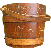 Charming Vintage Wooden Bucket, Firkin