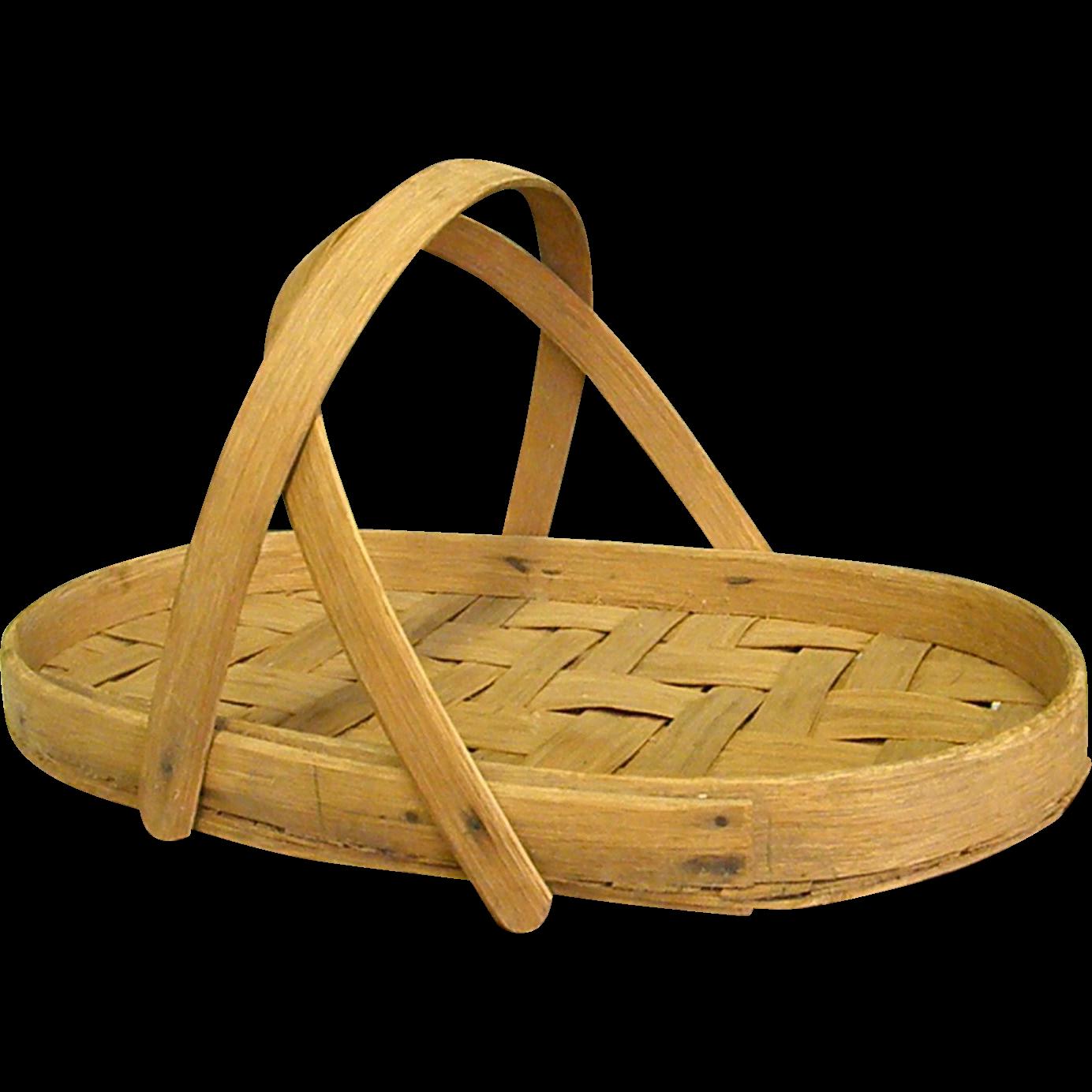 Woven Gathering Basket : Wonderful splint woven gathering basket from