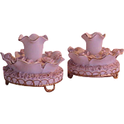 Beautiful Pair of Rose Encrusted Porcelain Candlestick Holders - Red Tag Sale Item