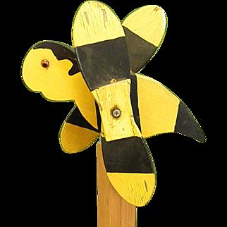 Rustic Handmade Wooden Bumble Bee Whirligig
