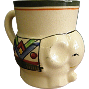 Cute Little 1950s Hand Painted Elephant Pitcher or Mug