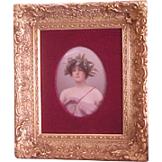 Beautiful Framed Porcelain Plaque Woman with Garland of Leaves