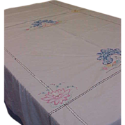 Old Fashioned Embroidered Coverlet with Crocheted Applique