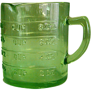Depression-Era Green Hazel Atlas Glass Kellogg Measuring Cup