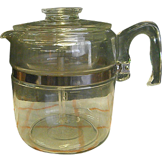 1950s Pyrex 9 Cup Stove Top Percolator Coffee Pot