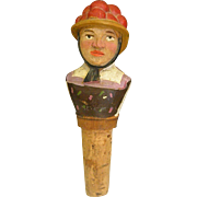 Hand-carved Wood Bottle Stopper in Anri Style