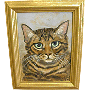Sweet Signed Painting of Green-Eyed Tabby Cat