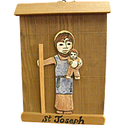 Signed Early Clay Saint Joseph on Wood by New Mexico Artist Mary Julyan
