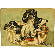 Precious Diminutive Watercolor of Three Dogs in a Basket