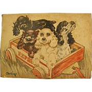 Precious Diminutive Watercolor of Dogs in a Red Wagon