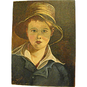 Fascinating Portrait of Young Boy Oil on Canvas Panel