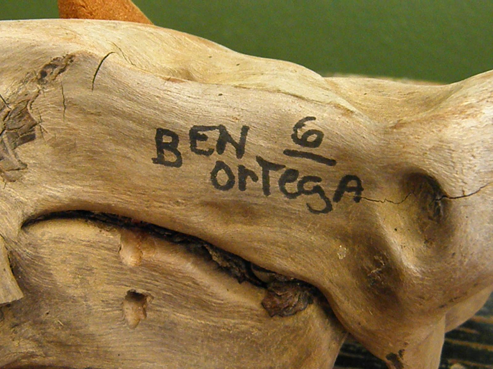 Signed Wood Carving By Artist Ben Ortega From
