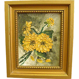 Cheerful Little Oil Painting of Yellow Flowers