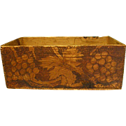 Signed and Dated Primitive Wooden Box with Pyrography