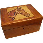 Antique Mahogany Box with Inlay of Horse on the Lid