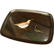 Vintage Mid-Century Couroc Tray with Quail Design