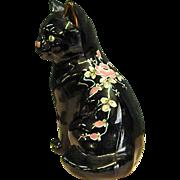 Fenton Ebony Cat Signed Hand Painted Flowers