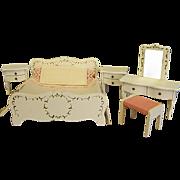Vintage Lundby's Dollhouse Painted Wood Bedroom Set