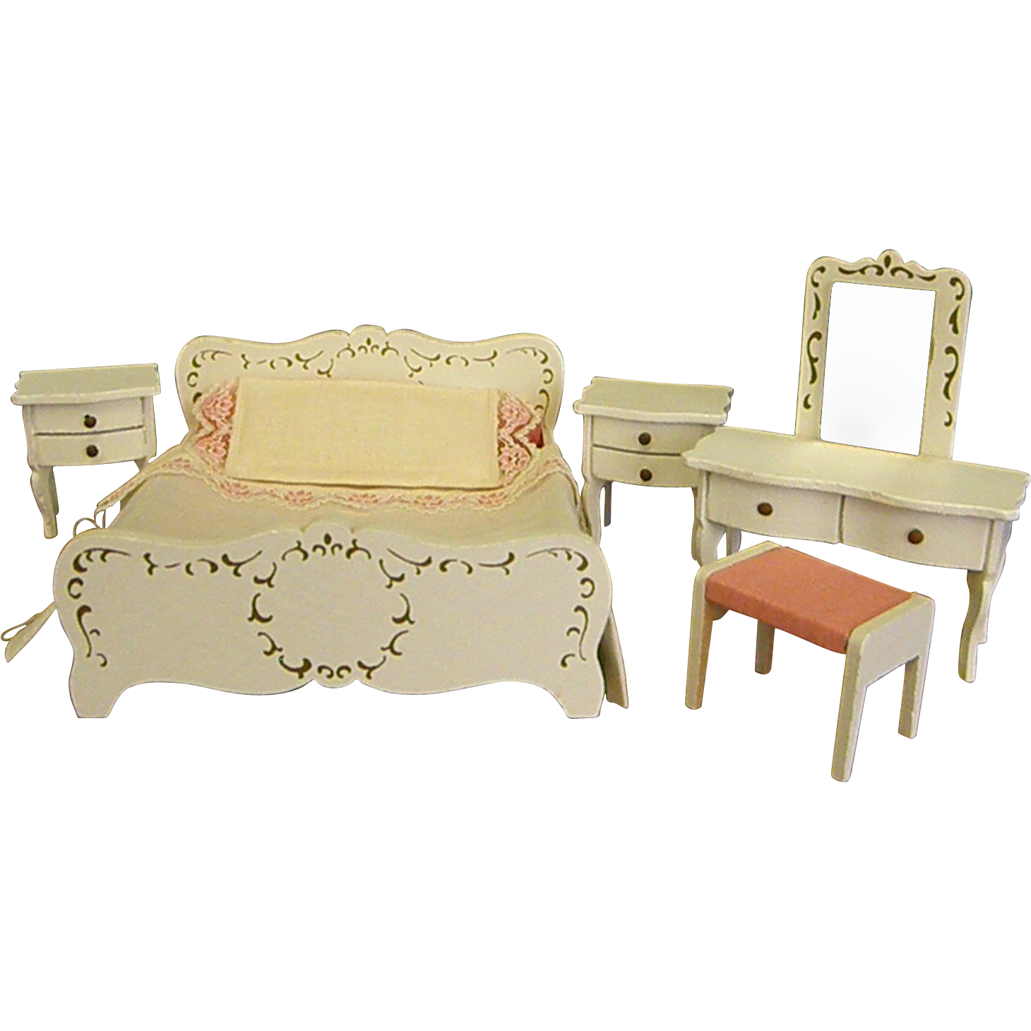 vintage lundby s dollhouse painted wood bedroom set from