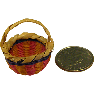Wonderful Miniature Doll House Straw Woven Basket