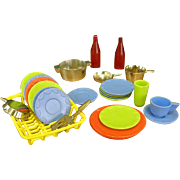 Cute Miniature Plastic Dishes and Drainer