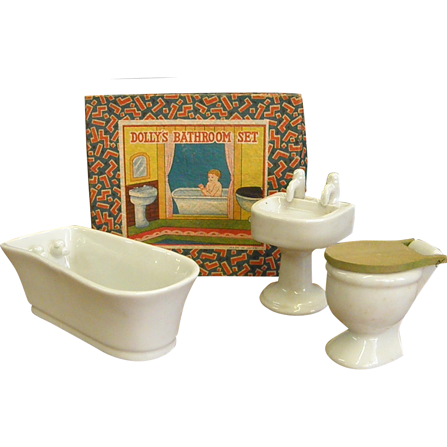 Wonderful 1920 30s Dollhouse Porcelain Bathroom Set In Original Box Bluebonnet Hill Estates