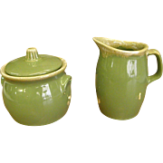 Hull Avocado Drip Lidded Sugar and Creamer