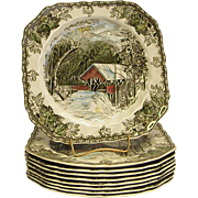 Johnson Brothers The Friendly Village Square Salad Plates The Covered Bridge