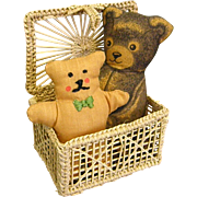 Sweet Doll-size Basket with Two Stuffed Fabric Bears