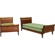 Darling Larger Twin Mahogany Dollhouse Beds
