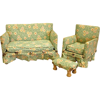 Darling Handmade Upholstered Doll Sofa, chair and Stool or Ottoman