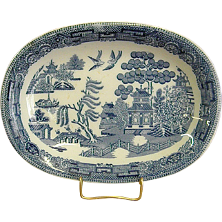 Child's Toy Wedgwood Blue Willow Platter dated 1916
