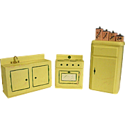 Wooden Dollhouse Refrigerator, Sink, Stove and Canister Set
