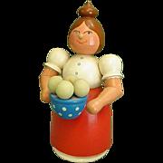 East German Smoker Incense Burner Woman Holding Bowl