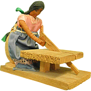 Handmade Articulated Native American Woman Sawing