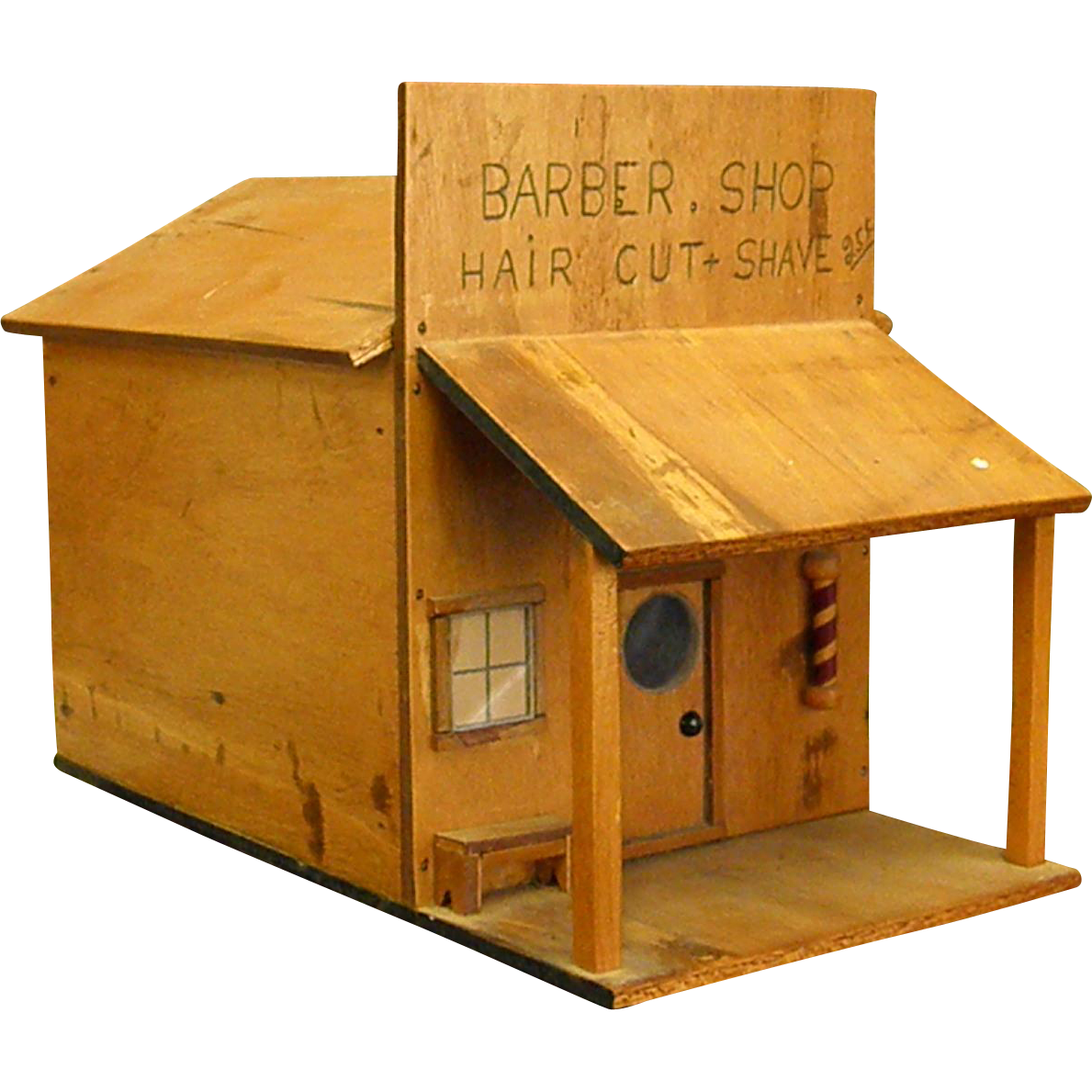 Darling Homemade Wooden Barber Shop Folk Art Bluebonnet Hill Estates Antiques Ruby Lane