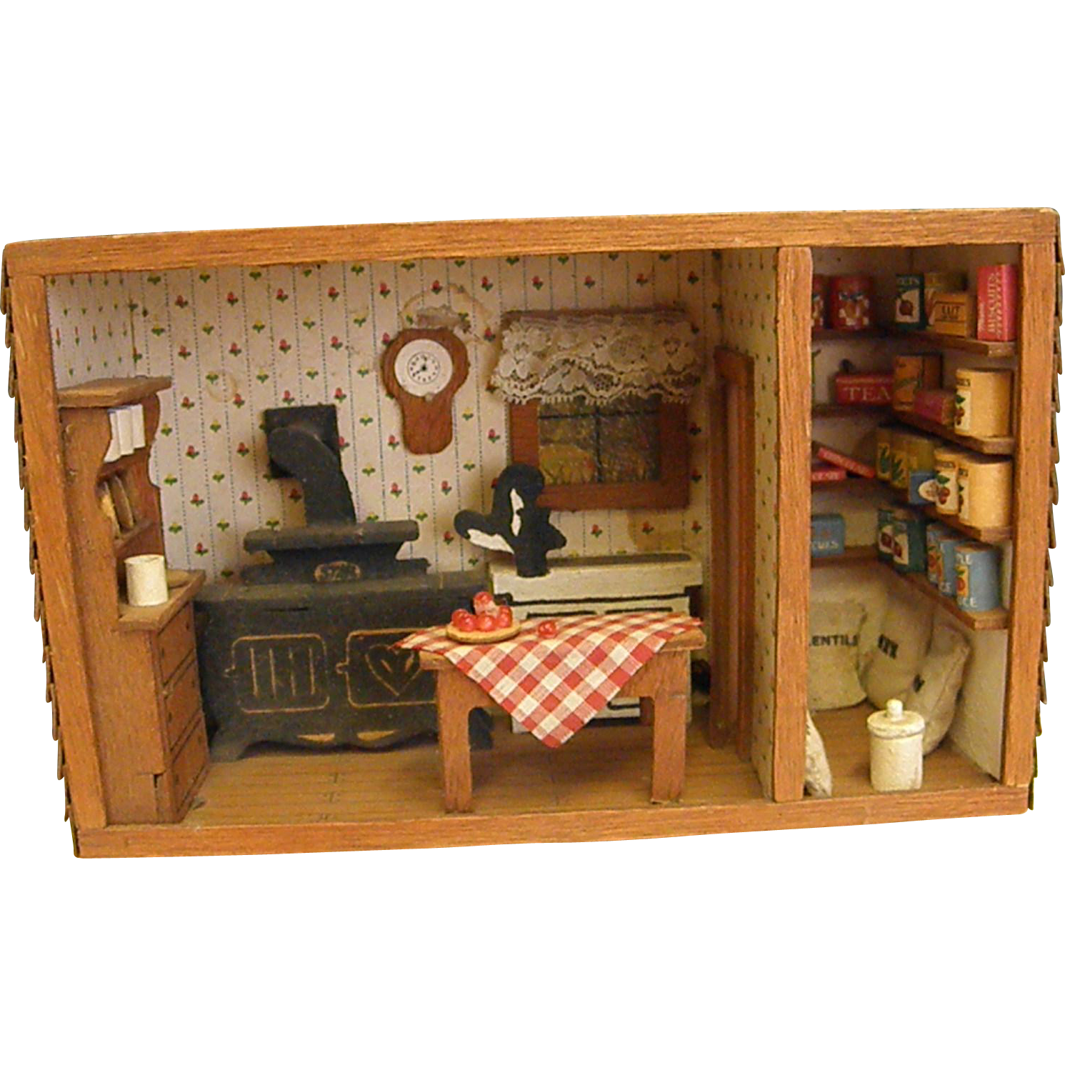 Vintage Wooden Diorama Of Country Kitchen And Pantry