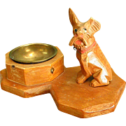 Handcarved Wooden Schnauzer Dog Ashtray from Pre-WWII Germany