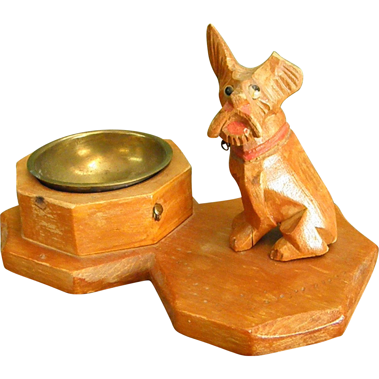 Handcarved Wooden Schnauzer Dog Ashtray From Pre Wwii Germany Bluebonnet Hill Estates