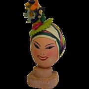 Vintage Hand Painted Egg Head 1940s Carmen Miranda Style