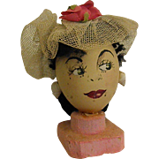 Vintage Hand Painted Egg Head 1940s Style Sassy Lady