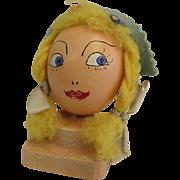 Vintage Hand Painted Egg Head Little Milkmaid or Dutch Girl